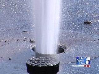 Video Of A Water Spout Caused By Broken Tulsa Water Main Valve