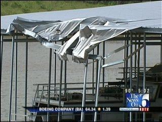 Storm Damages Docks At Keystone Lake