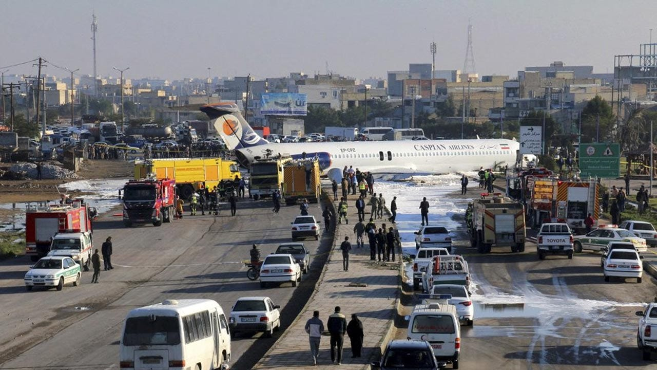 Aging Iran Airliner Skids Onto Highway In Crash Landing