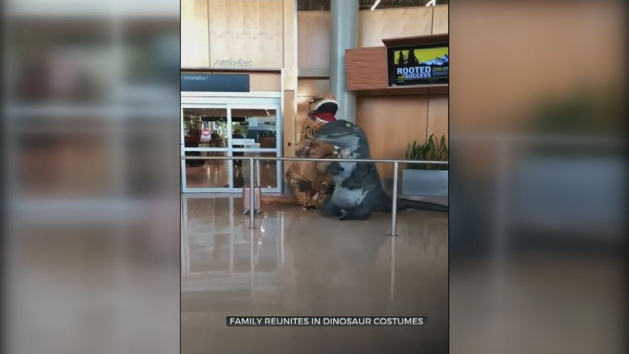 WATCH: Family Greets Grandmother In Dino Costumes At Airport