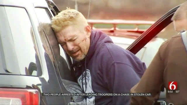 Man, Woman Arrested After Rogers County Pursuit Ends In Broken Arrow