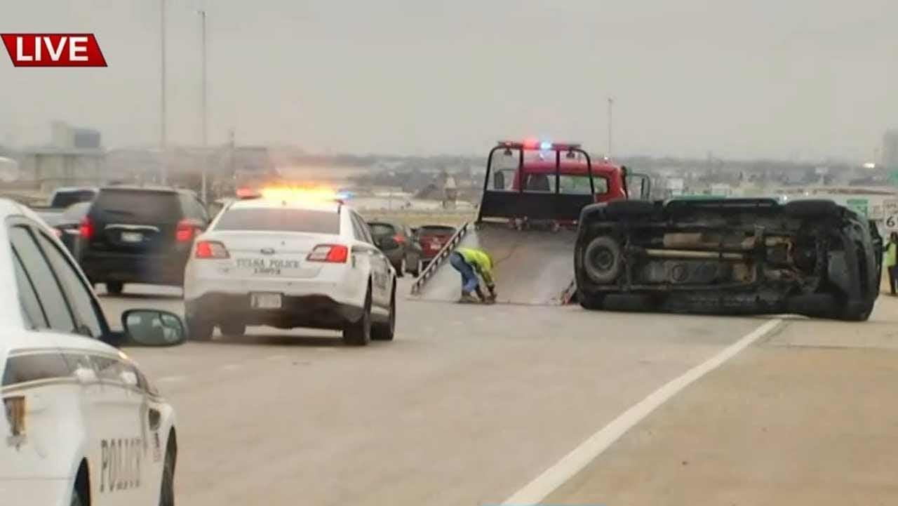 WATCH: Tulsa Police Respond To Non-Injury Rollover Crash