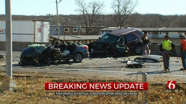2 In Critical Condition After Head-On Tulsa Crash