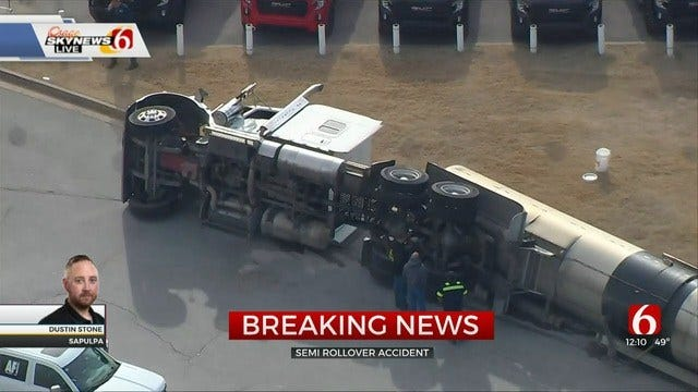 WATCH: Tanker Truck Rolls, Causes Oil Spill On Highway 66 In Sapulpa