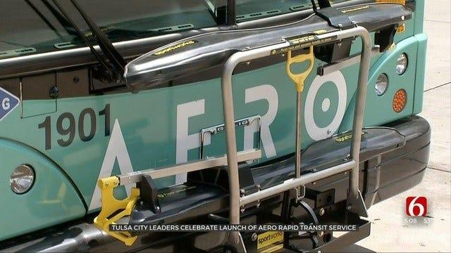 Tulsa City Leaders Celebrate Launch Of Aero Bus Service