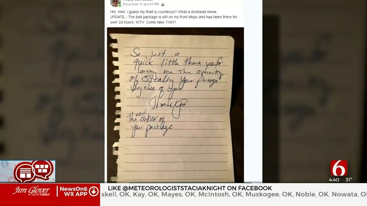 Something To Talk About: Thief Leaves Thank You Note After Stealing Package