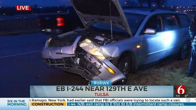 UPDATE: Lanes Closed On EB I-244 Due To Multi-Vehicle Crash