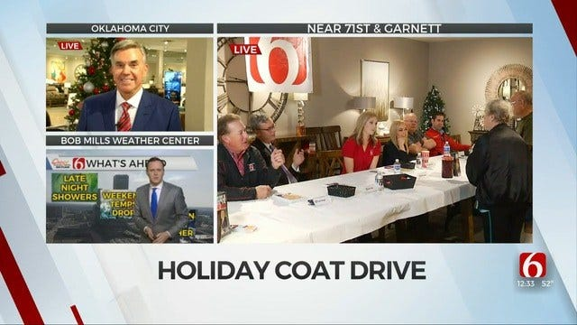 Travis Meyer, News On 6 Weather Team Join Bob Mills For Trav's Coats For Kids