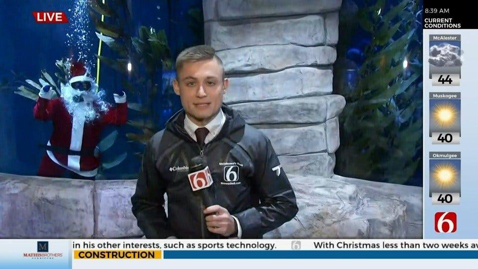 WATCH: Santa Dives Into The Oklahoma Aquarium