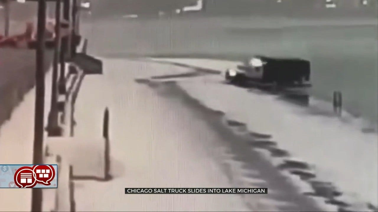 Something To Talk About: Chicago Salt Truck Slides Into Lake