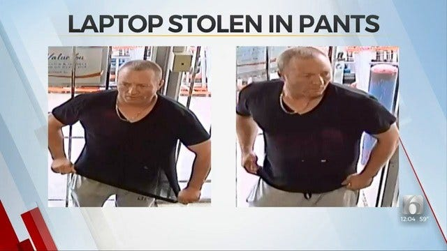 Tulsa Police: Man Stole Laptop By Shoving It Down His Pants