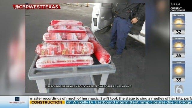 WATCH: 154 Lbs. Of Bologna Seized At Border