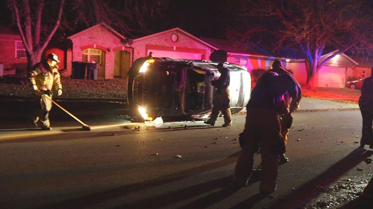 Man Hospitalized After Rollover Crash In Tulsa