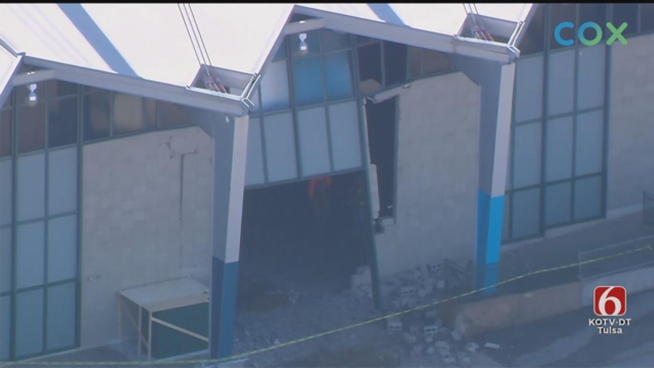 WATCH: Truck Damages River Spirit Expo Center At Tulsa Fairgrounds