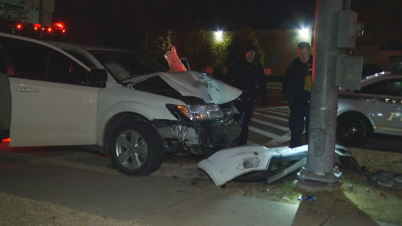 Woman Crashes Into Pole; Reportedly Spits On Responding Tulsa Firefighter