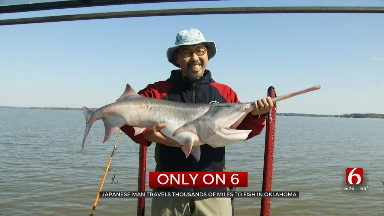 Japanese Man Travels To Oklahoma For Spoonbill Fishing Trip