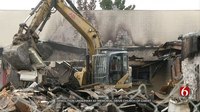 Demolition Underway On Tulsa Church Heavily Damaged By Fire