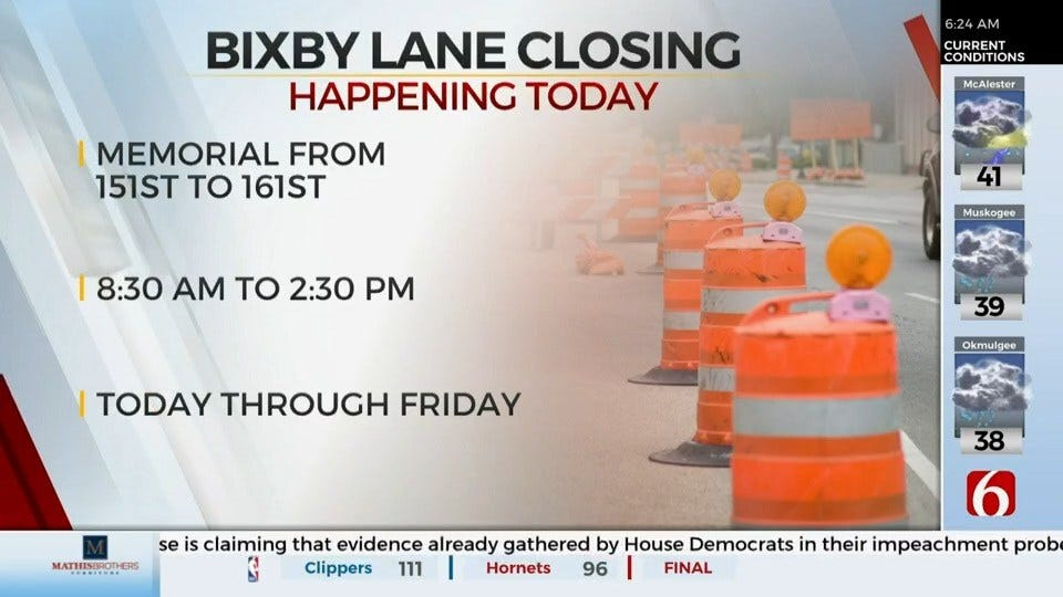 Lane Closed In Bixby For Light Installation