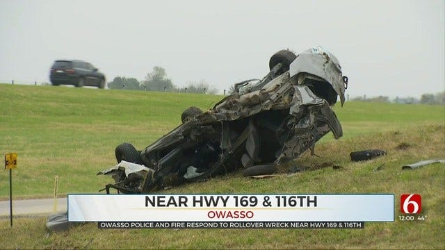 Driver Badly Hurt In Owasso Rollover Wreck