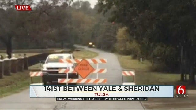 Bixby Reports Downed Power Lines Block 141st Between Yale And Sheridan