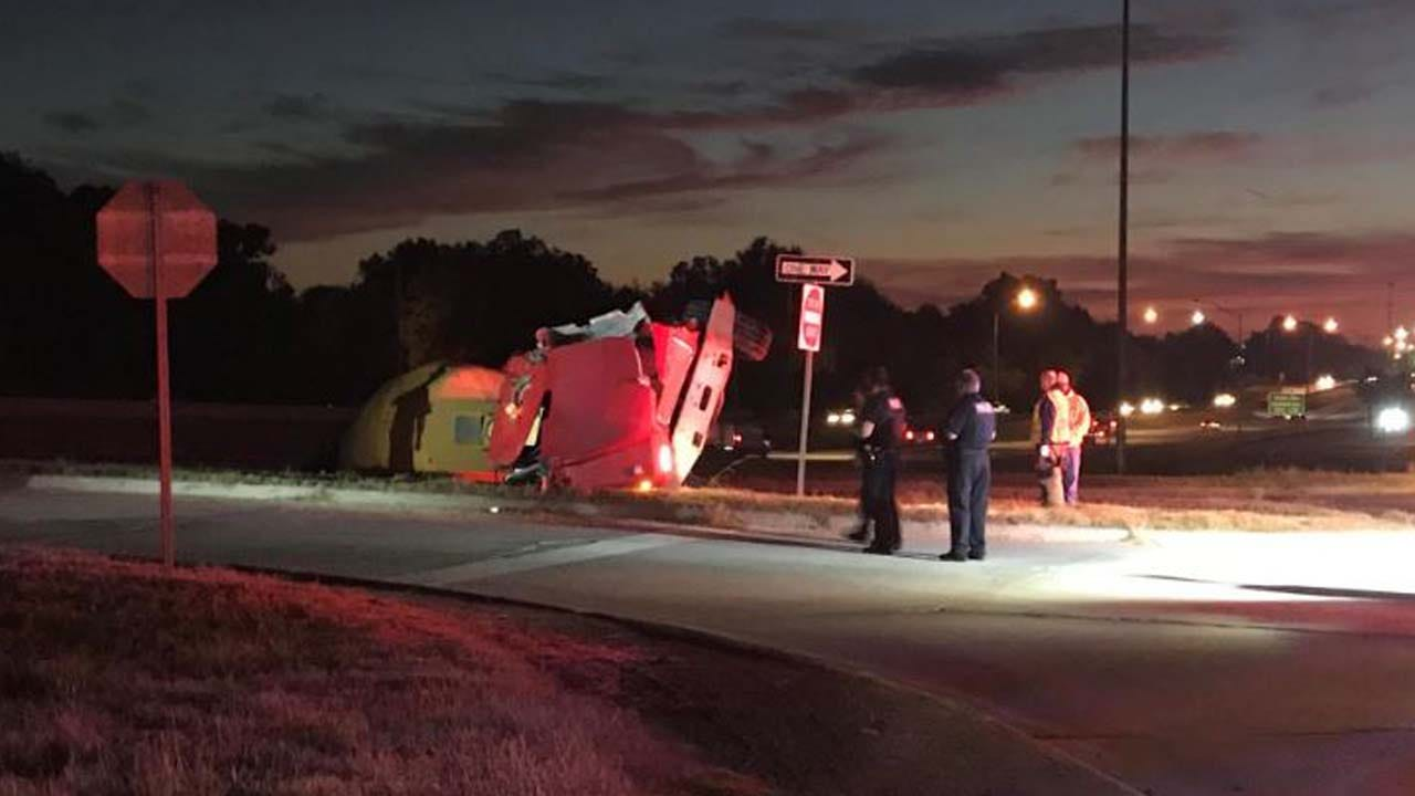 Concrete Truck Rolls Over On I-44 Exit Ramp