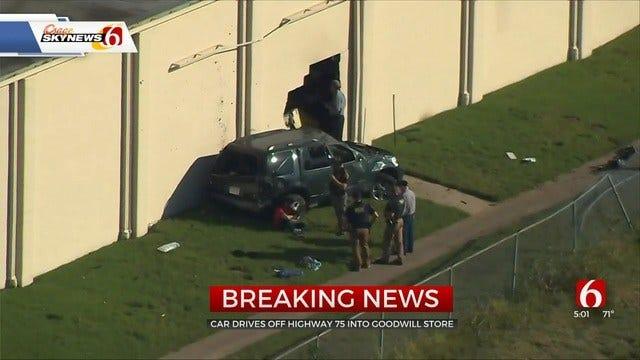 SUV Runs Off Highway 75, Crashes Into Tulsa Goodwill Building