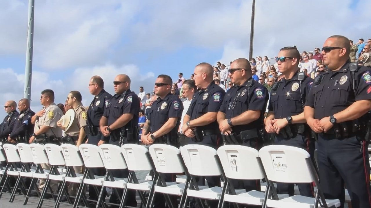 Police Officers Fill Stands At Football Game To Cheer On Fallen Colleague's Son