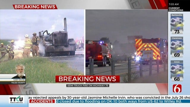 WATCH: Firefighters Put Out Semi Fire On Hwy 75
