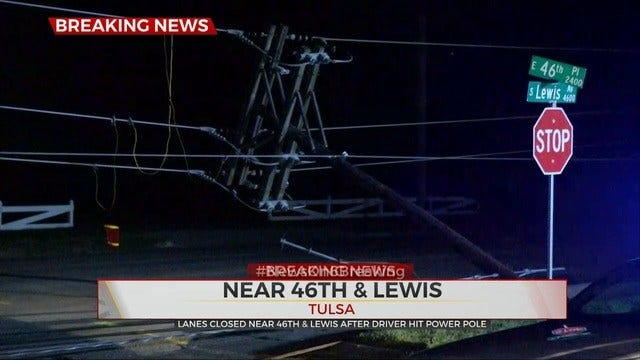 Part Of Lewis Closed After Car Hits Pole