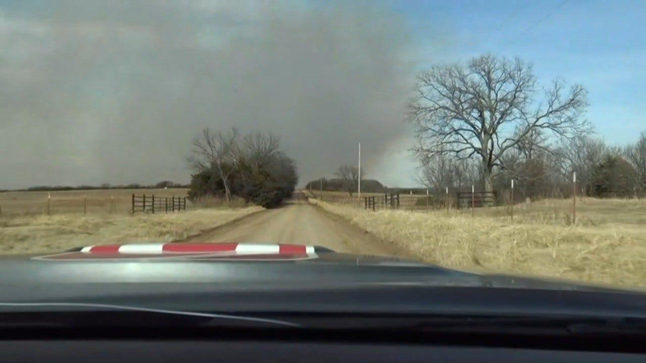 WATCH: Grass Fire Near Pawnee