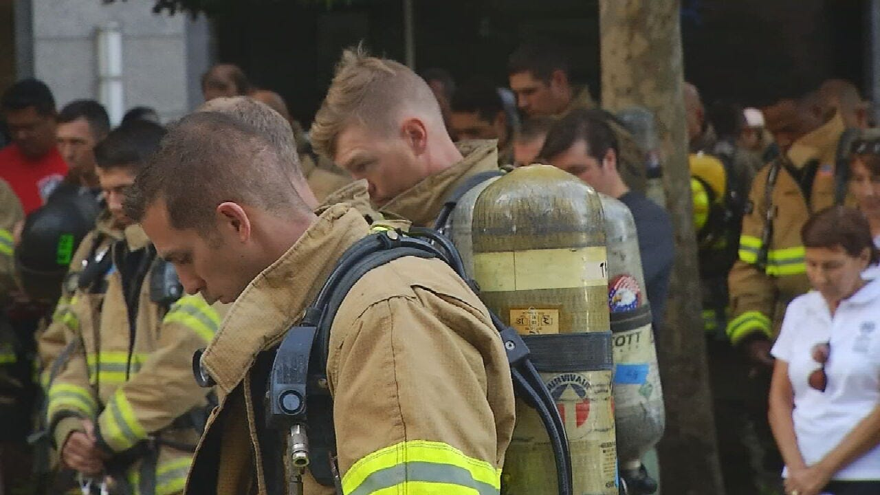 First Responders Take Part In Tulsa Stair Climb In Remembrance of 9/11