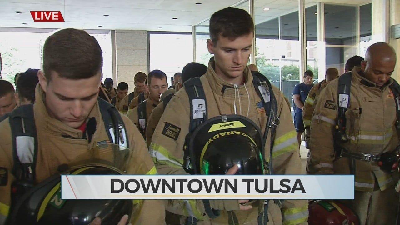 First Responders take Part In 9/11 Memorial Stair Climb In Tulsa