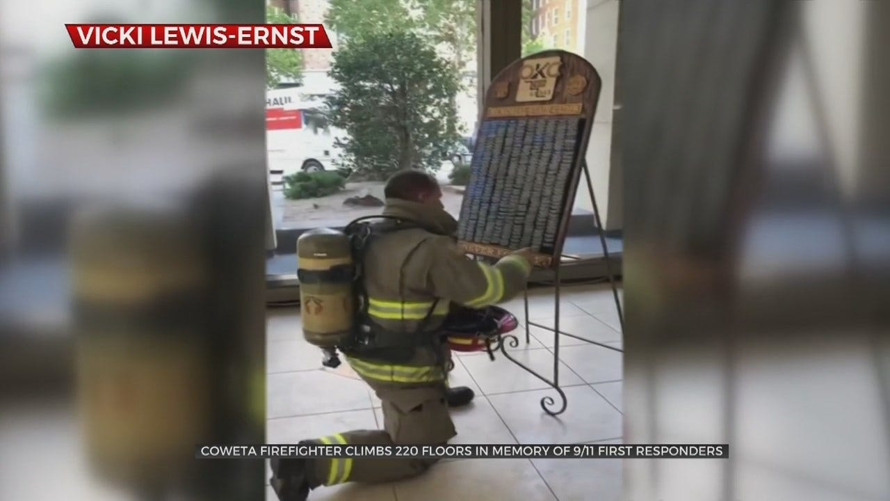 WATCH: Coweta Firefighter Completes 9/11 Memorial Stair Climb Twice