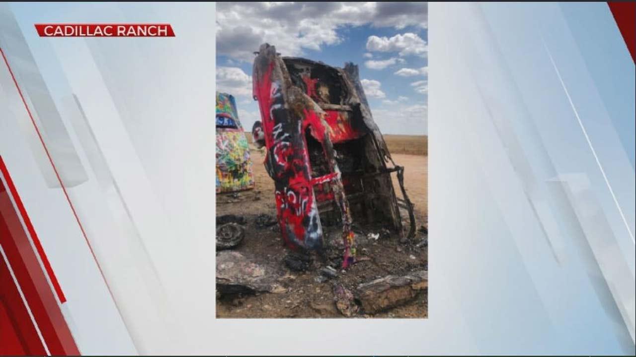 WATCH: Car In Texas Cadillac Ranch Damaged In Fire