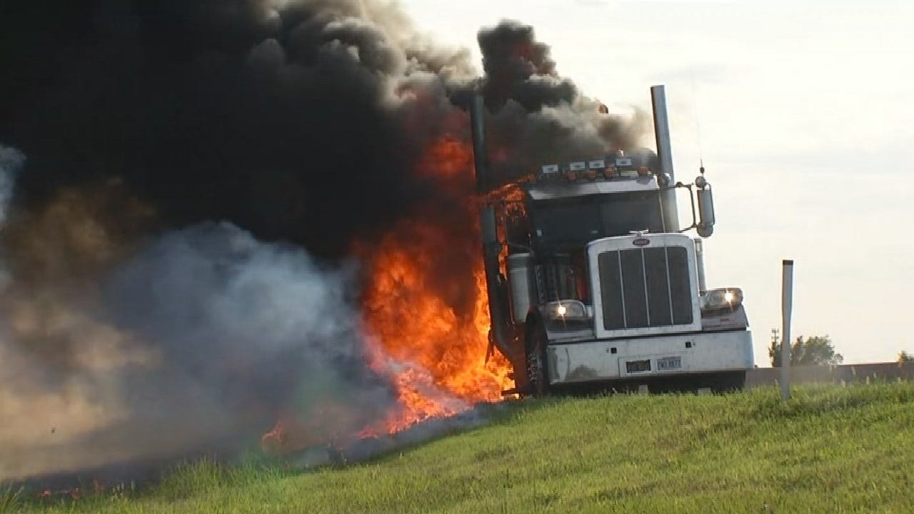 WATCH: Semi Truck Catches Fire On I-44