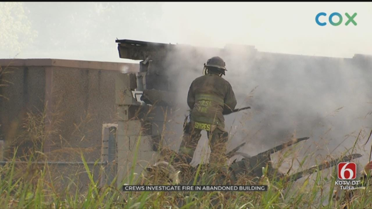 Firefighters Work To Put Out Fire At Abandoned Sand Springs Building