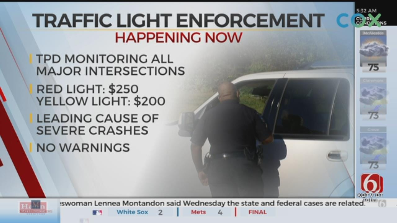 Tulsa Police Start Red, Yellow Light Enforcement in August
