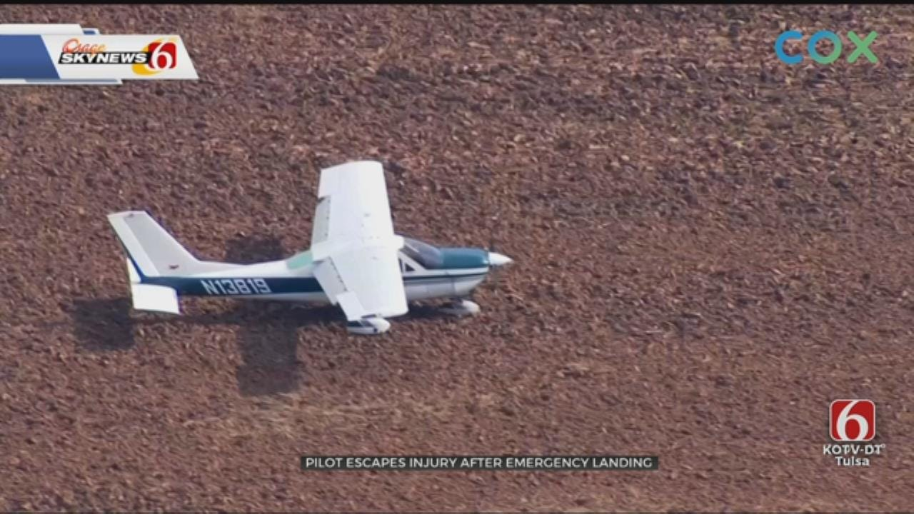 Pilot Makes Forced Landing In Field Near Cushing Airport