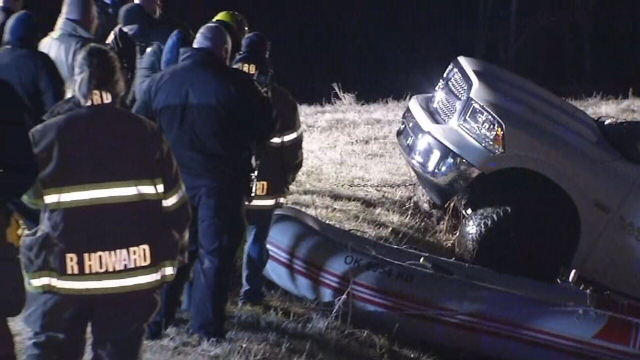 Wagoner County Emergency Crews Remove Truck From Pond Near Haskell