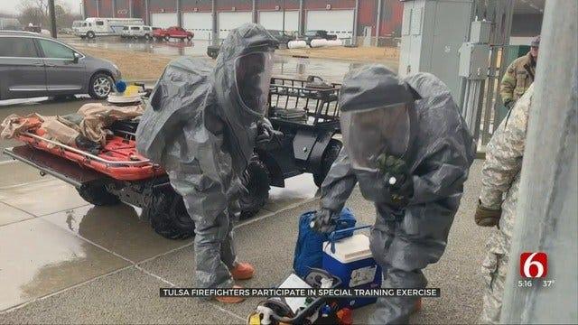 Tulsa Hazmat Firefighters Train With Oklahoma National Guard