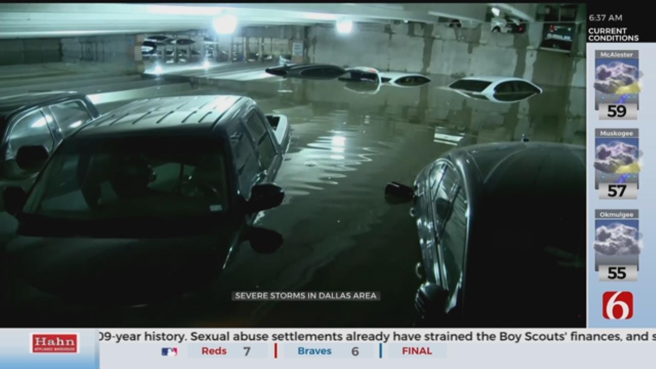Heavy Rain Floods Dallas Airport Parking Garage