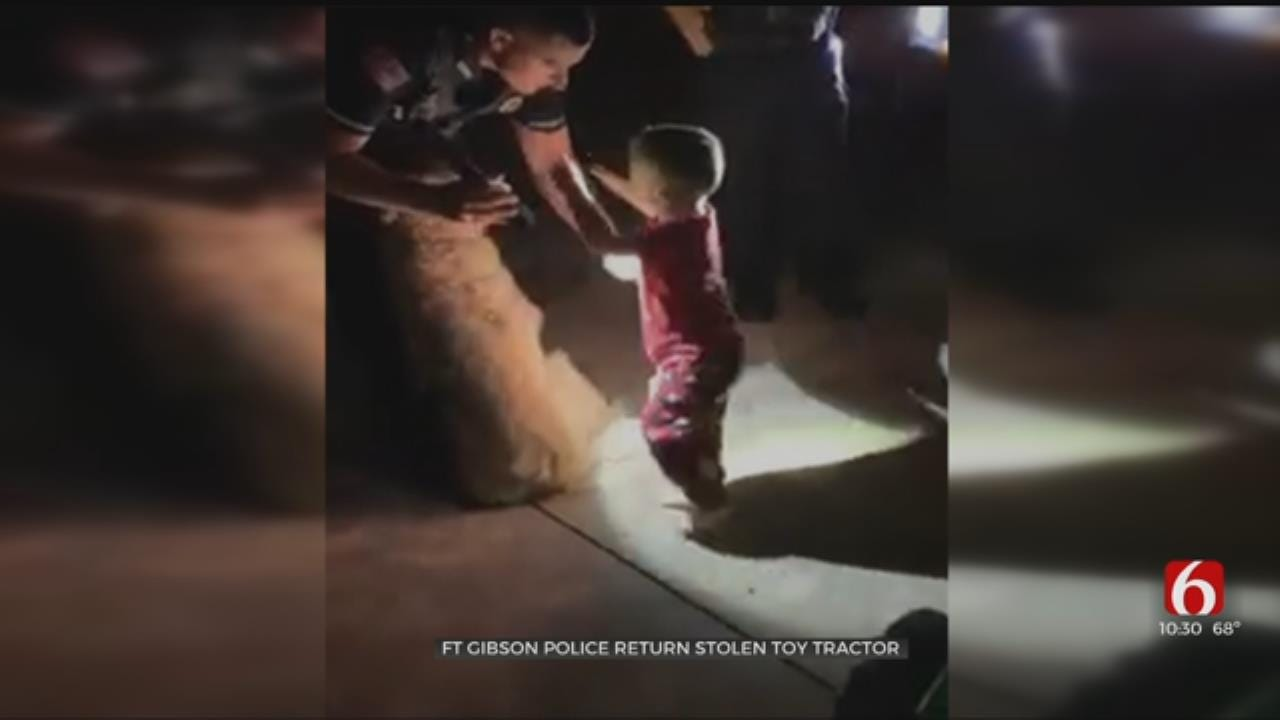 WATCH: Fort Gibson Police Return Young Boy's Stolen Tractor