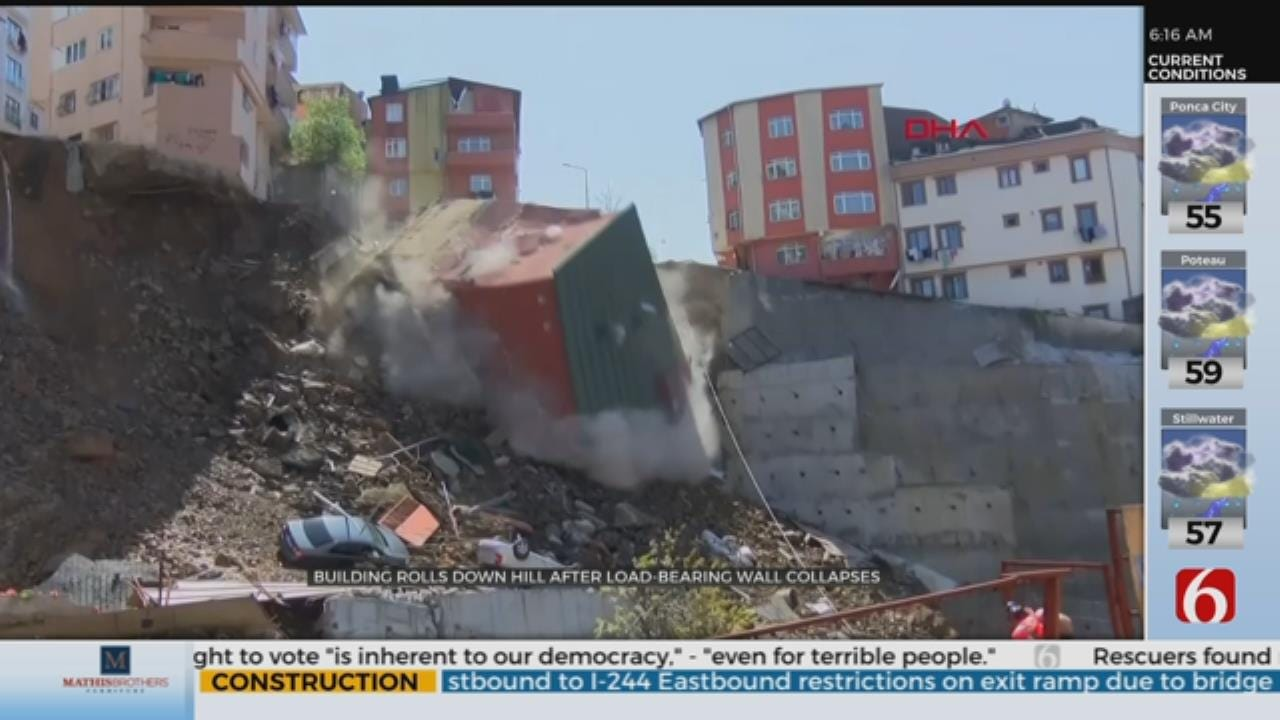 WATCH: Building Tumbles Down Hill