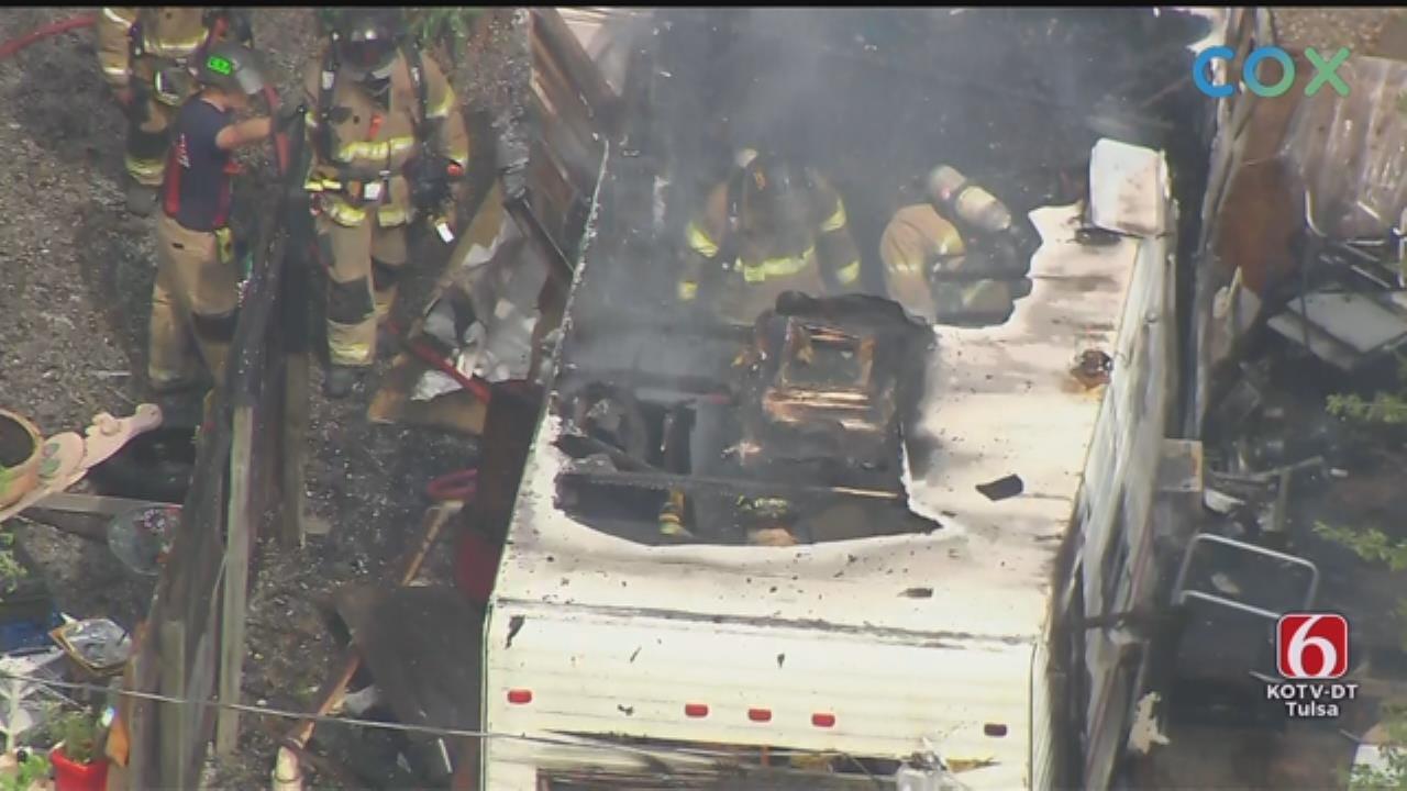WATCH: Tulsa Firefighters Battle Mobile Home Fire