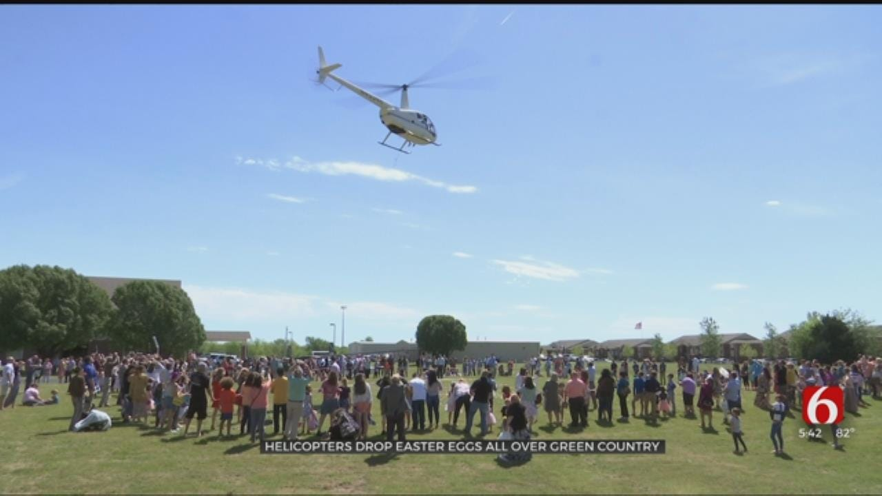Tulsa County Helicopters Drop Easter Eggs For Easter Weekend
