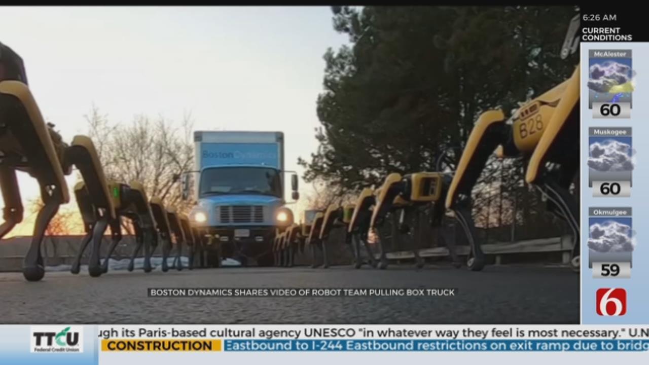 WOW: Team Of Robots Pulls Box Truck