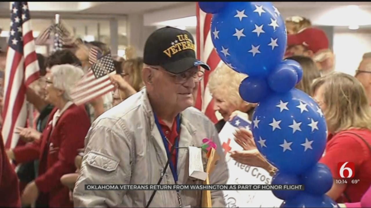 Dozens Of Tulsa Veterans Return From Oklahoma Warriors Honor Flight