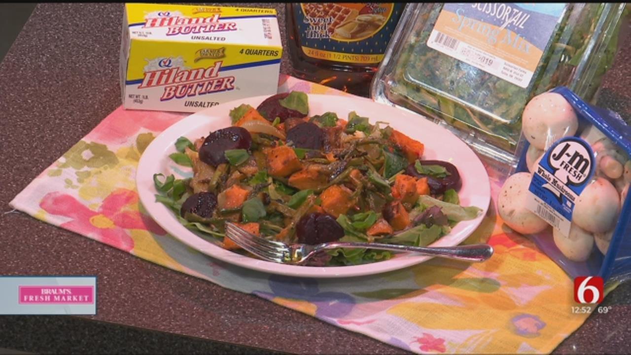 Warm Roasted Vegetable Salad And Honey Mustard Glazed Ham