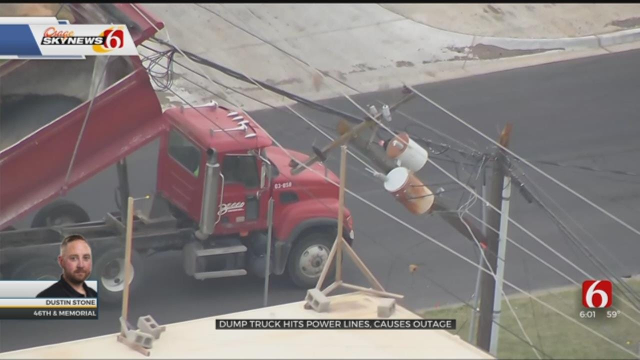 Dump Truck Hits Tulsa Power Lines Causing Outages