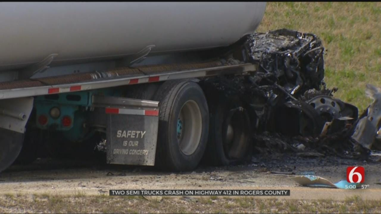 Semi Trucks Crash On Highway 412 In Rogers County